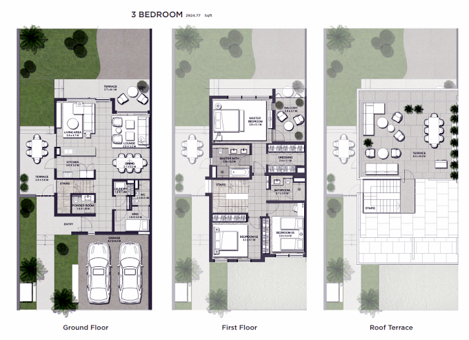 Planning of the apartment 3BR, 2924.77 in Club Villas, Dubai
