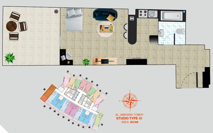 Planning of the apartment Studios, 857.89 in Al Jawhara Residence, Dubai