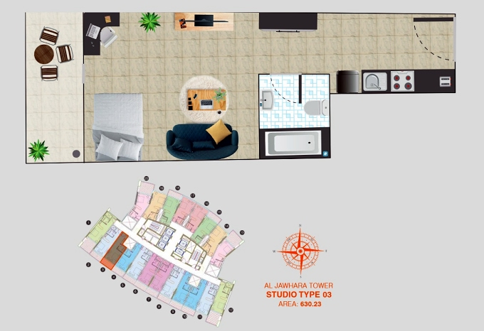Planning of the apartment Studios, 630.23 in Al Jawhara Residence, Dubai