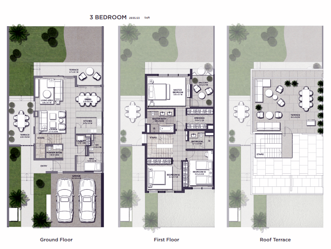 Planning of the apartment 3BR, 2935.53 in Club Villas, Dubai