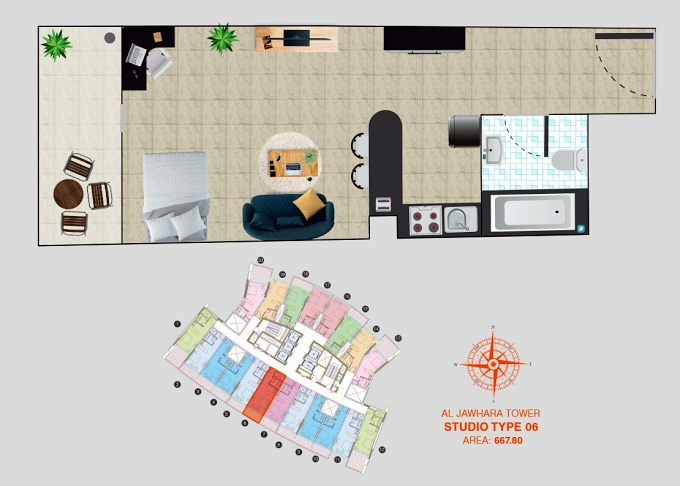 Planning of the apartment Studios, 667.8 in Al Jawhara Residence, Dubai
