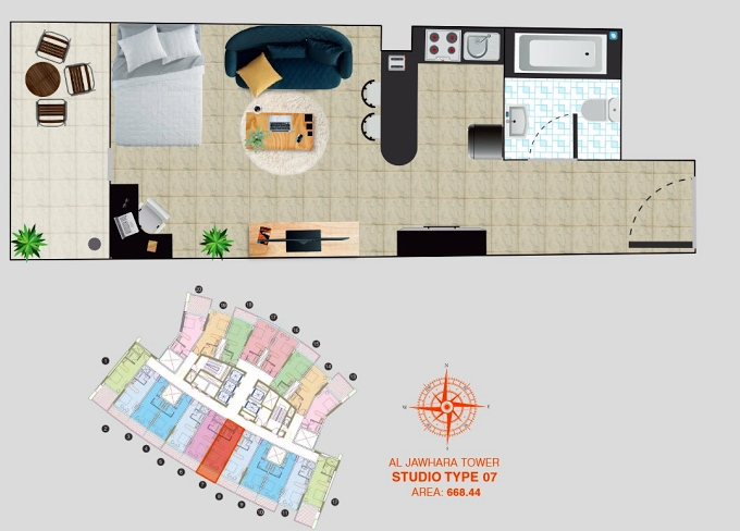 Planning of the apartment Studios, 668.44 in Al Jawhara Residence, Dubai