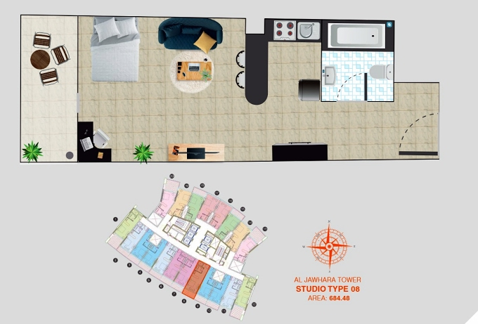 Planning of the apartment Studios, 684.48 in Al Jawhara Residence, Dubai