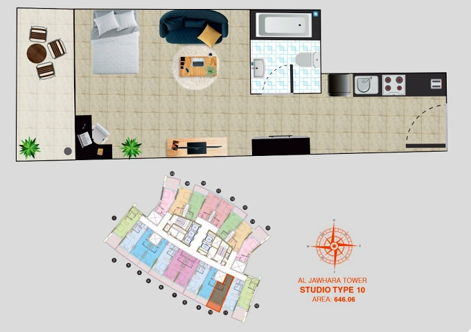 Planning of the apartment Studios, 646.06 in Al Jawhara Residence, Dubai