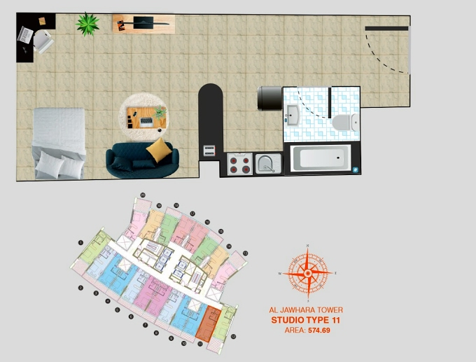 Planning of the apartment Studios, 574.69 in Al Jawhara Residence, Dubai