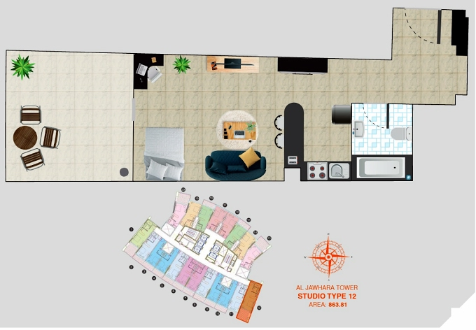 Planning of the apartment Studios, 863.81 in Al Jawhara Residence, Dubai