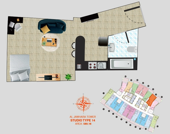 Planning of the apartment Studios, 580.18 in Al Jawhara Residence, Dubai