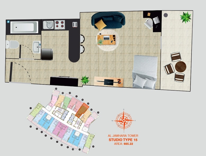 Planning of the apartment Studios, 665.22 in Al Jawhara Residence, Dubai