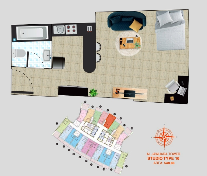 Planning of the apartment Studios, 548.86 in Al Jawhara Residence, Dubai