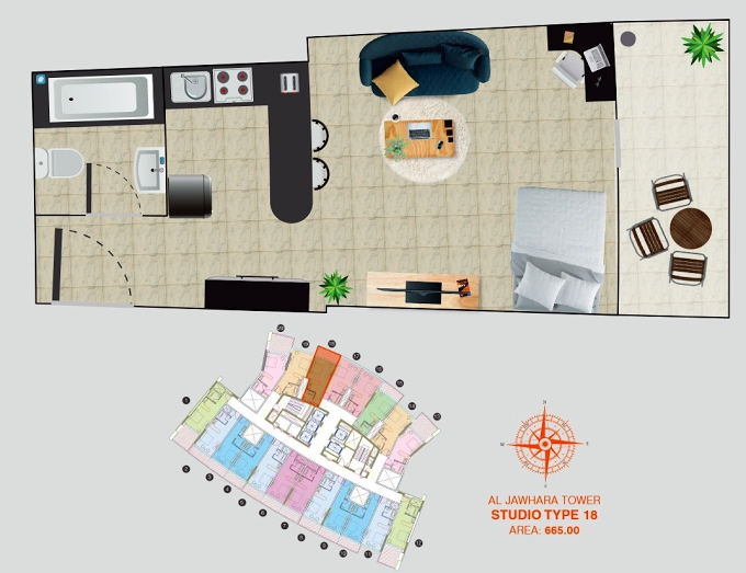 Planning of the apartment Studios, 665 in Al Jawhara Residence, Dubai