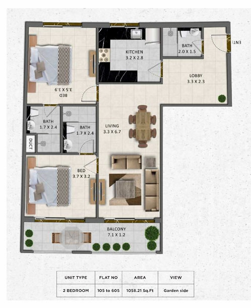 Planning of the apartment 2BR, 1058.21 in Gardenia Livings, Dubai