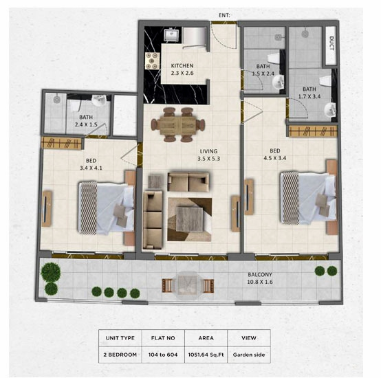 Planning of the apartment 2BR, 1051.64 in Gardenia Livings, Dubai