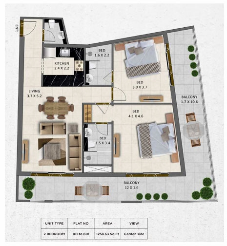 Planning of the apartment 2BR, 1258.63 in Gardenia Livings, Dubai