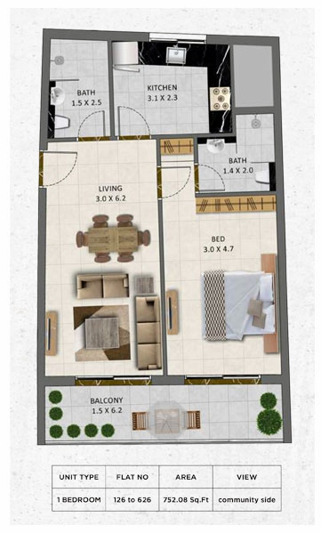 Planning of the apartment 1BR, 752.08 in Gardenia Livings, Dubai