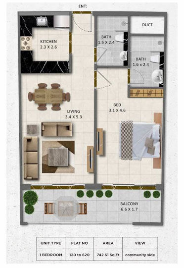 Planning of the apartment 1BR, 742.61 in Gardenia Livings, Dubai