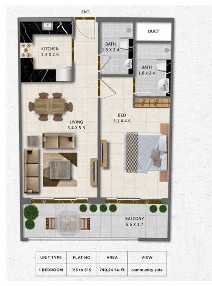 Planning of the apartment 1BR, 740.24 in Gardenia Livings, Dubai
