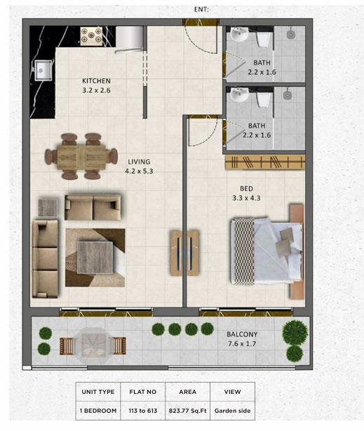 Planning of the apartment 1BR, 823.77 in Gardenia Livings, Dubai