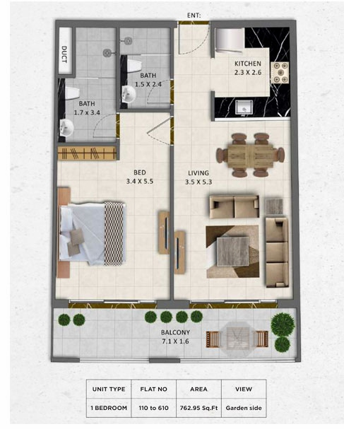 Planning of the apartment 1BR, 762.95 in Gardenia Livings, Dubai