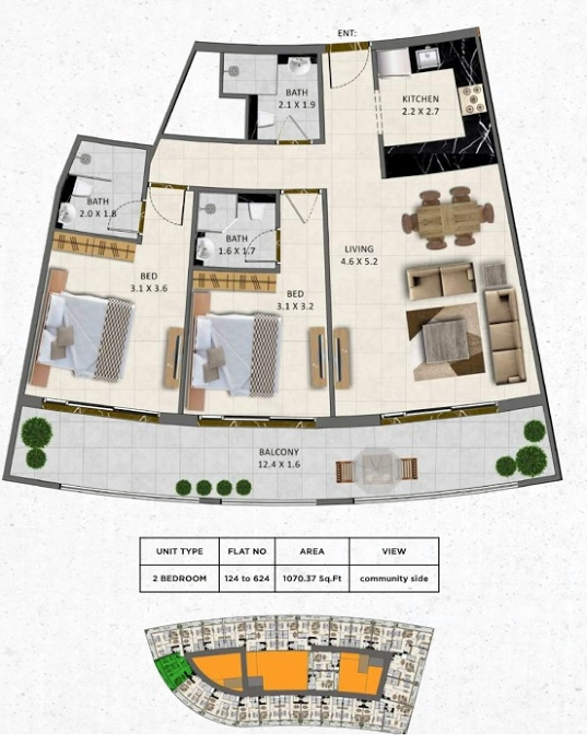 Planning of the apartment 2BR, 1070.37 in Gardenia Livings, Dubai