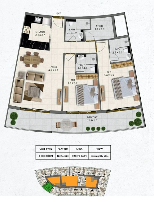 Planning of the apartment 2BR, 1130.76 in Gardenia Livings, Dubai