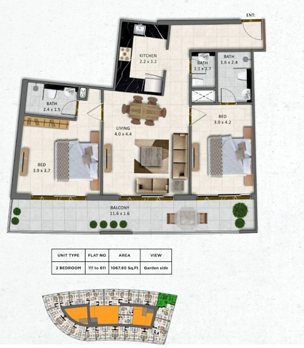 Planning of the apartment 2BR, 1067.9 in Gardenia Livings, Dubai