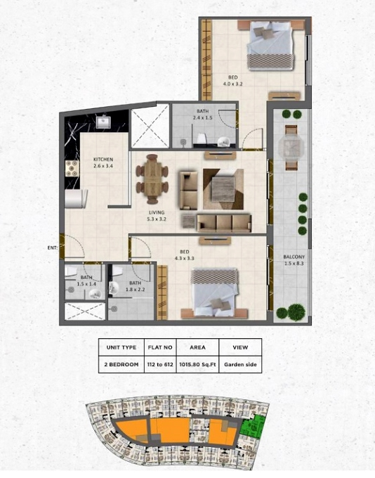 Planning of the apartment 2BR, 1015.8 in Gardenia Livings, Dubai