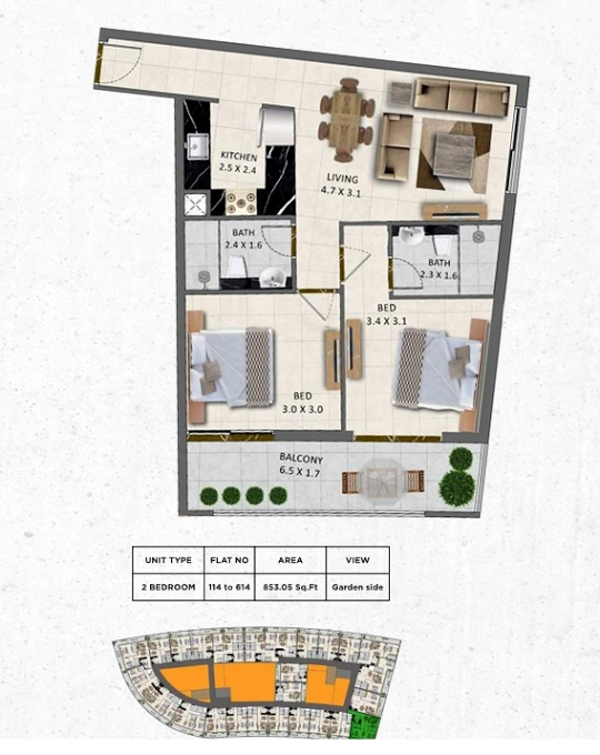Planning of the apartment 2BR, 853.05 in Gardenia Livings, Dubai