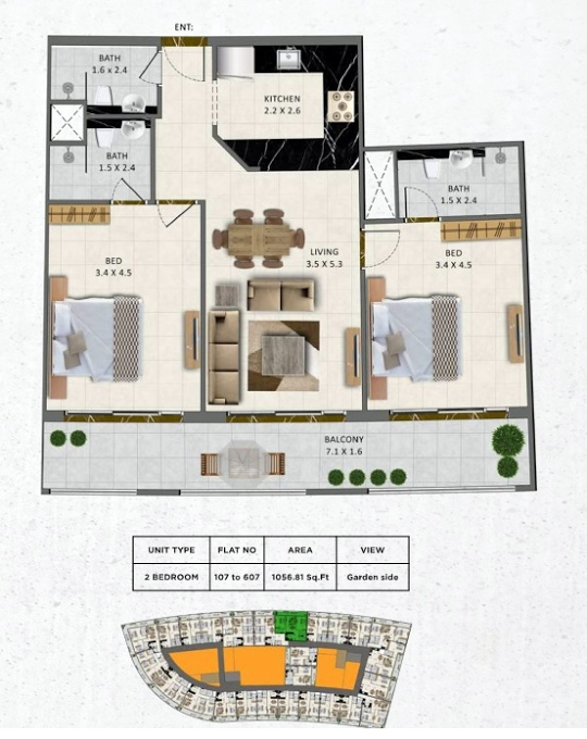 Planning of the apartment 2BR, 1056.81 in Gardenia Livings, Dubai