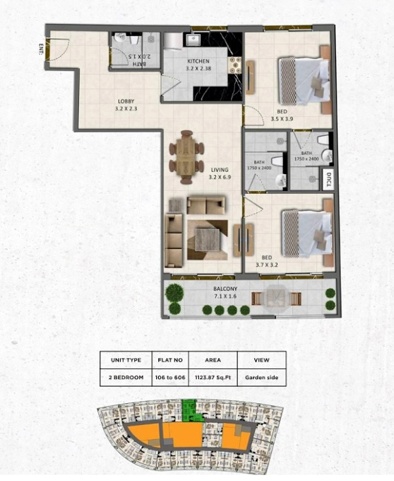 Planning of the apartment 2BR, 1123.87 in Gardenia Livings, Dubai
