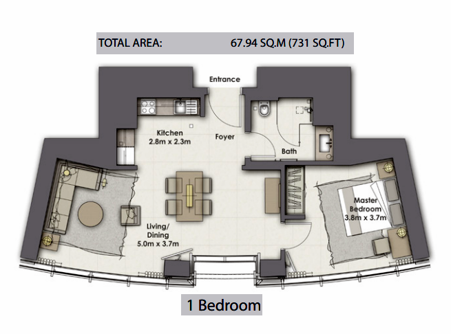 Planning of the apartment 1BR, 731 in Opera Grand, Dubai