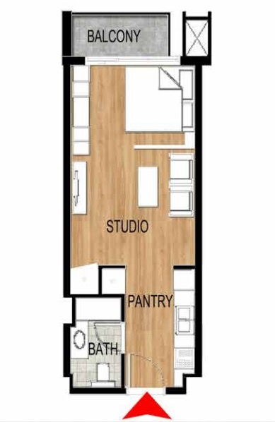 Planning of the apartment Studios, 424.31 in Pantheon Elysee, Dubai