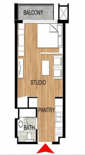 Planning of the apartment Studios, 423.77 in Pantheon Elysee, Dubai