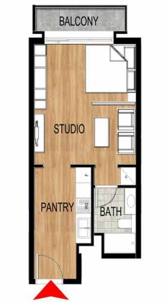 Planning of the apartment Studios, 438.31 in Pantheon Elysee, Dubai