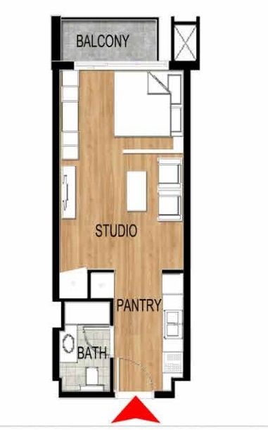 Planning of the apartment Studios, 430.02 in Pantheon Elysee, Dubai