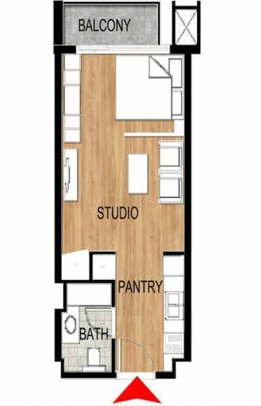 Planning of the apartment Studios, 429.59 in Pantheon Elysee, Dubai