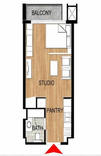 Planning of the apartment Studios, 433.46 in Pantheon Elysee, Dubai