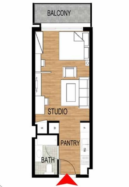 Planning of the apartment Studios, 460.69 in Pantheon Elysee, Dubai