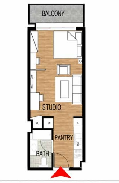 Planning of the apartment Studios, 461.02 in Pantheon Elysee, Dubai