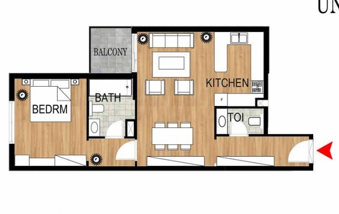 Planning of the apartment 1BR, 774.35 in Pantheon Elysee, Dubai