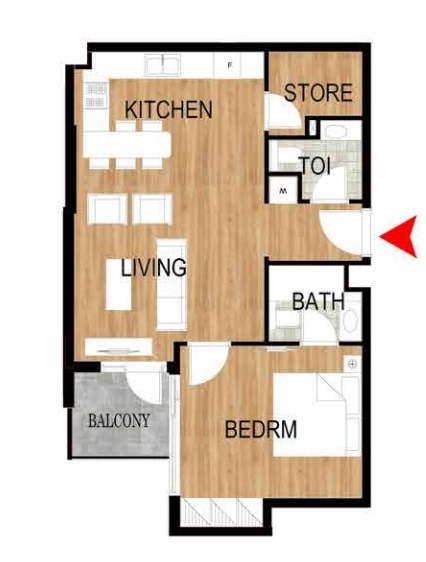 Planning of the apartment 1BR, 910.09 in Pantheon Elysee, Dubai