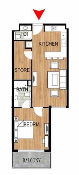 Planning of the apartment 1BR, 781.78 in Pantheon Elysee, Dubai