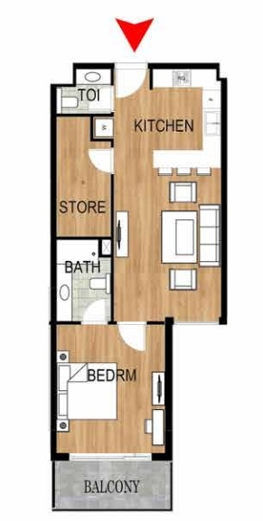 Planning of the apartment 1BR, 776.94 in Pantheon Elysee, Dubai