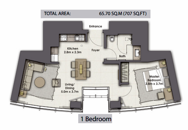 Planning of the apartment 1BR, 707 in Opera Grand, Dubai