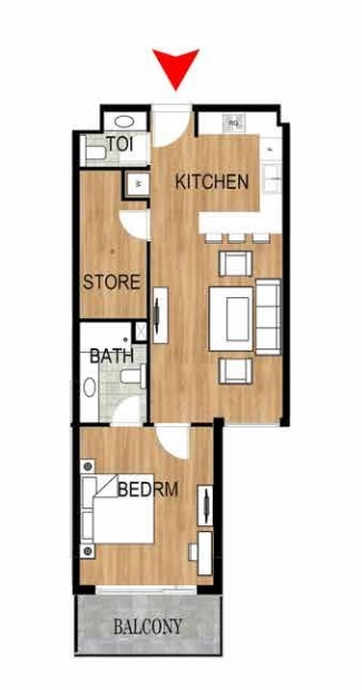 Planning of the apartment 1BR, 783.5 in Pantheon Elysee, Dubai