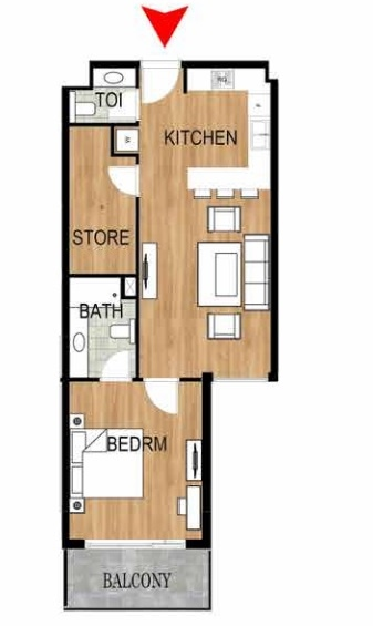 Planning of the apartment 1BR, 753.9 in Pantheon Elysee, Dubai