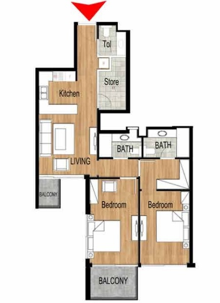 Planning of the apartment 2BR, 1033.1 in Pantheon Elysee, Dubai