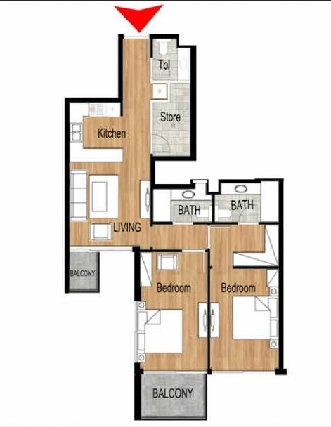 Planning of the apartment 2BR, 1043.8 in Pantheon Elysee, Dubai