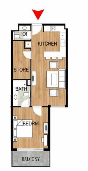 Planning of the apartment 1BR, 775.43 in Pantheon Elysee, Dubai