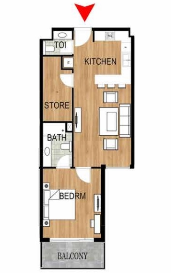 Planning of the apartment 1BR, 779.95 in Pantheon Elysee, Dubai