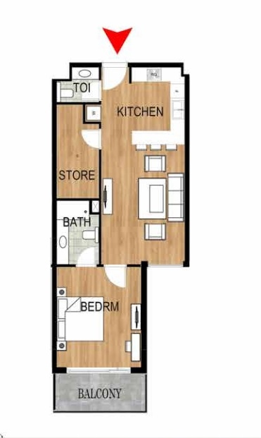 Planning of the apartment 1BR, 771.97 in Pantheon Elysee, Dubai